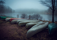 Mount Grenta (Jen MacNeill) Tags: offseason mountgrenta lebanoncounty pa pennsylvania outdoors nature canoe boats canoes lake pond fog foggy weather winter blue mood moody