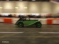 MG PB Airline Coupe (BenGPhotos) Tags: 2017 london classic car show green mg pb airline coupe vintage british sports streamlined streamliner panning 232yuy