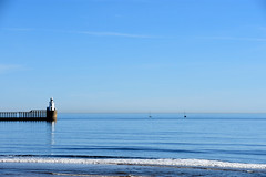 Blyth lighthouse and two boats (DavidWF2009) Tags: northumberland blyth sea beach calm blue lighthouse sailingboat yacht