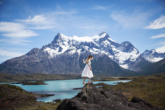 Torres Del Paine (Lichon photography) Tags: torresdelpaine lichonphotography landscape nature southamerica lake mountain sky green balacing adventure explore love white dress snow barefeet barefoot clouds tumblr