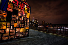 Someday We'll Find It (Kathy Macpherson Baca) Tags: newyorkcity brooklyn bridge wolrd earth people cityscape love connection rainbow kermit night city peace urban landmark skyline prominade brooklynpark planet humans building colorful hope tolerance together nightscape evening