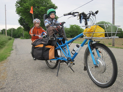 electric cargo bike camping - headed towards our destination