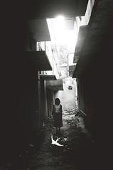 . (holding onto gravity) Tags: blackandwhite bw film girl analog 35mm dark minolta minoltax700 creepy 400 pan filmcamera ilford creep x700