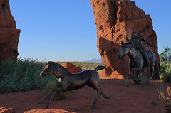 Traffic Circle Mustangs 2 (arbyreed) Tags: horses sculpture statue bronze roundabout mustangs largescalesculpture themustangs washingtoncountyutah arbyreed edhlavka ivansutah widlhorses fauxsandstoneformations
