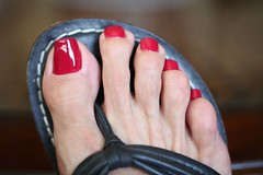 Gweneth (IPMT) Tags: red hot sexy feet crimson fetish dark foot rojo zoya perfect toes miami painted gorgeous polish lindo thong stunning napa barefeet pedicure bernardo sandal toenails ocre toenail bello pedi gweneth