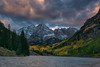Maroon Sunset (Amy Hudechek Photography) Tags: autumn sunset lake mountains color fall clouds nikon colorado maroonbells happyphotographer amyhudechek