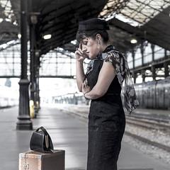 Question at St Lazare Train Station - Paris (Remy Carteret) Tags: paris france girl station female train canon square eos model saintlazare trains squareformat mk2 5d canon5d handbag bethanie gar mkii valise markii stlazare garestlazare mark2 suitecase sacamain garesaintlazare sacmain stlazarestation canoneos5dmarkii saintlazarestation 5dmarkii canon5dmark2 5dmark2 canon5dmarkii canoneos5dmark2 remycarteret rmycarteret