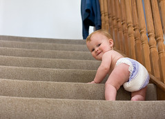 you're watching me do this, right? (backpackphotography) Tags: baby cute girl stairs climbing era backpackphotography