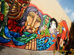 Mexico D.F / Coayacan (ecos.) Tags: chile street art graffiti mural arte peces pablo colores militar 40 pajaro ramona parra neruda colectivo albornoz golpe ecos patricio años mapuche publico muralismo brigada