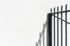 My line of (Tom Wachtel) Tags: white abstract black metal wall fence iron minimal line rod railing parallel whitewash