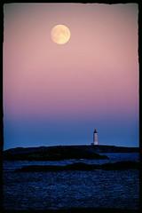Edited in aviary (flickr online edit) (Birgit F) Tags: sunset moon seagulls lighthouse norway december skagerrak skerries grimstad fyrtårn torungen austagder fevik hasseltangen