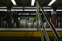 Railing (JoelZimmer) Tags: newyork subway unitedstates bokeh manhattan midtown pennstation 24mmf28 nikond7000