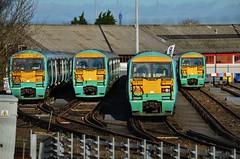 Under new management... (stavioni) Tags: west electric train south railway trains southern depot emu wimbledon swt class456