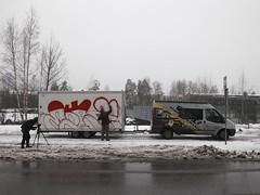 "Katutaidevaunu @ Rastilan metroasema (Helsinki street art office Supafly) Tags: streetart color art graffiti helsinki colorful spray hel graffitiart ""street art"" katutaide supafly nuorisoasiainkeskus katutaidevaunu graffititrailer"