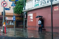 Weather Lovers (Davin Kyle Sanchez) Tags: love wet rain this la losangeles waiting downtown picture dry lovers busstop taste dtla