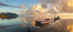 Dreamy Hawaii (rayman102) Tags: seascape reflection sunrise landscape hawaii boat oahu ripple kaneohe coastal windward kaneohebay 5dmarkii vision:clouds=0895 vision:sky=0875
