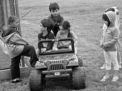 The cool kids know (therealjoeo) Tags: street party blackandwhite kid texas jeep taylor