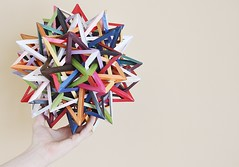 """Event Horizon"" Twenty Interlocking Irregular Augmented Tetrahedra (Byriah Loper) (Byriah Loper) Tags: paper compound origami stellated complex polygon paperfolding polyhedron modularorigami pentagonal stardream byriahloper"