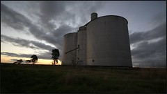 Silos AT Dusk (florahaggis) Tags: sunset sky clouds sunrise colours australia victoria silo storms remlaw