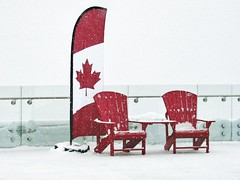What is the Banff Red Chair Experience? (altamons) Tags: rockymountains rocky rockies nationalpark national park mountainview mountains mountain canadianrockies canadian canada banffnationalpark banff altamons alberta sulphurmountain sulphur white snow red redchairs flag