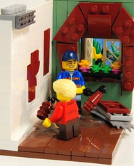 Learning to Paint (Roy of Floremheim) Tags: lego moc build creation scene paint painting interior window garden curtains walls floor absbuilderchallenge ac vent father son minifigures royoffloremheim