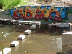 Artful Tag (mikecogh) Tags: hackney graffiti tag colourful colorful artistic rivertorrens blocks steppingstones