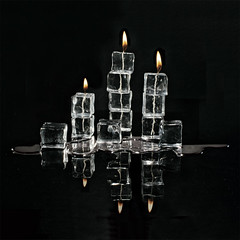 Fire and Ice (Repp1) Tags: candle flame ice icecubes tabletopphotography bougie glace glaçon black noir