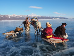 Horse-drawn sledges on frozen lake Khovsgol-Mongolia (alainloss) Tags: mongolia horse sledge lake khovsgol