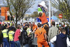 Police acting against hooliganism (Michiel2005) Tags: party feest orange holland netherlands leiden nederland celebration bushalte oranje queensday koninginnedag viering vandalisme inhuldiging koningsdag kroningsdag
