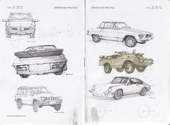 IDC Perspective Practice Page 6 (Flaf) Tags: colour water pencil mercedes jeep drawing 911 sketchbook renault vel sl alpine porsche cherokee florian siegen freie idc flaf satis afflerbach zeichnerei idrawcars
