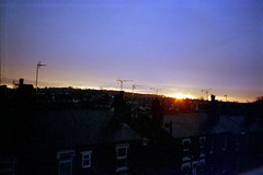 Sunrise over Sugarwell Hill and The Highburys (2) (Saturated Imagery) Tags: film sunrise 35mm iso200 leeds vintagecamera konicac35efp ferraniasolaris200 epsonv500 agphotographic photoshopelements9