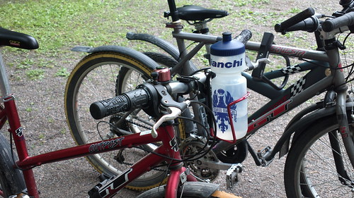 Handlebar-mounted water bottle
