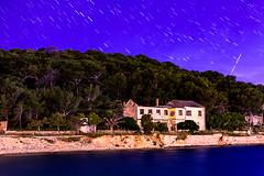 Starry night (N-Sarn) Tags: longexposure sea sky abandoned water forest stars island rocks colorful mediterranean ruin trails croatia villa rockybeach adriatic hrvatska lussino kvarner malilošinj lošinj