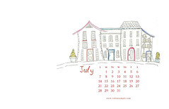 July2013DesktopBackground (robinsample) Tags: houses illustration sketch hand calendar background july drawn dekstop inkandwash