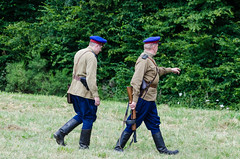 NKVD officers backing up Soviet soldiers (The Adventurous Eye) Tags: world two up war o battle soviet ww2 soldiers reenactment reenactors officers backing bítov bitva 2013 nkvd bitvaobítov