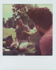 Shooting the breeze with friends (~ Meredith ~) Tags: park summer green film june 30 polaroid sx70 picnic time ben andrew moment cp pola activities impossible 2013 px70 impossibleproject