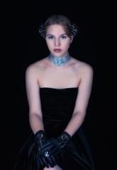Poised (halelinda) Tags: portrait woman beauty fashion female studio model nikon lg gloves lowkey softbox profoto strobist