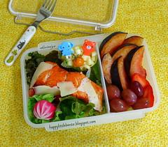 Another Salmon Bento (sherimiya ♥) Tags: school fish cheese tomato lunch kid healthy corn strawberry sheri salmon plum delicious lettuce homemade grapes bento radish obento sherimiya
