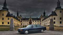BMW infront of a 14th century castle (lowelee) Tags: building castle car architecture clouds photography scenery sweden stockholm bmw 14thcentury darkclouds tyresö slott photojob awesomescenery