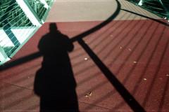 shadow self-portrait on the bridge over the River Don (pho-Tony) Tags: uk 35mm iso200 wind rangefinder vista british meter agfa visual advance rapid f28 45mm extinction compact lever 128 poundland agfavista c41 agilux anastigmat tetenal 45cm agiluxagimatic agimatic visualextinctionmeter