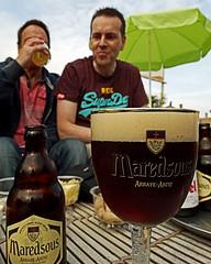 Maredsous Dark Beer - Blakenberge Beach Belgium (Sony HX300) (markdbaynham) Tags: camera city bridge urban beach bar dark belgium drink sony brugge ale bruges superzoom bruggen maredsous blakenberge hx300