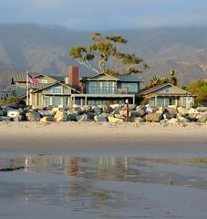 low tide (Karol Franks) Tags: carpinteria california beach sand sea ocean house tree mountain america flag karolfranksgmailcom ©2014 karolfranks ©karolfranks okarolyahoocom