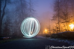 Mystical Forest Light (christian speck) Tags: trees light lightpainting fog night forest 35mm outdoors schweiz switzerland suisse sony lausanne arbres lumiere nuit foret sauvabelin rx1 brouyard lightsspheres