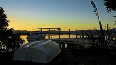 Whangapoua Sunrise (edwardfraser) Tags: sea newzealand sky beach water sunrise landscape boat sony wharf boating slt dinghy a57 whangapoua