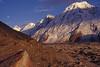 Pakistan_1993_50x_Evening light on the peaks of the southern wall of Hispar glacier (BE-28) (Roger Nix's Travel Collection) Tags: pakistan karakoram snowlake karakorum hispar