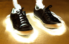 Shoes On Fire (Vijay Mahalingam) Tags: shoe flashlight t3i lighttrail canont3i