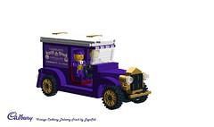 Lego Cadbury Truck (LegoSéb) Tags: brick digital truck gold design purple lego cadbury delivery cadburys fanatics ldd