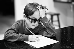 Homework (Jenny Onsager) Tags: sunglasses kids canon math homework blackandwhitephotography homelife mathhomework mygearandme jennyonsager