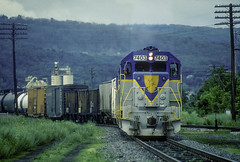 D&H 7403 PYRP  06-24-90  Binghamton, Ny. (Vince Hammel Jr) Tags: railroad trains scanned