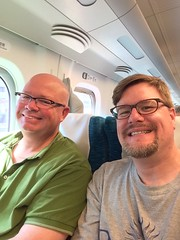 On the bullet train heading to Kyoto.